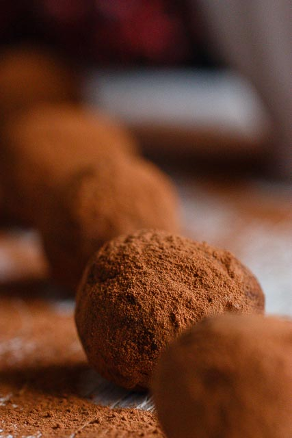 Cacao en polvo. Ingrediente trufas de castañas