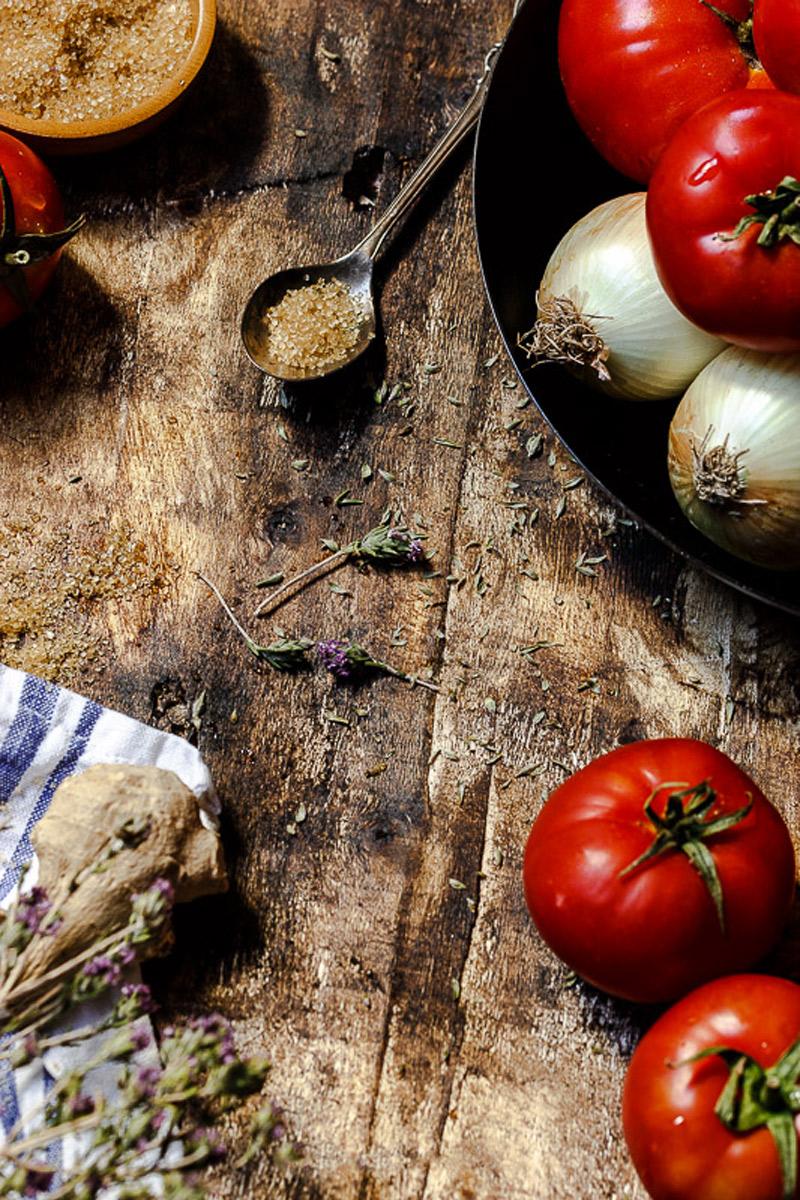 Azucar moreno. Ingrediente confitura tomate
