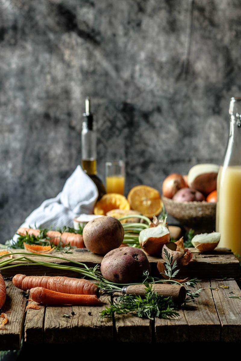 Ingredientes de la crema de zanahoria casera.