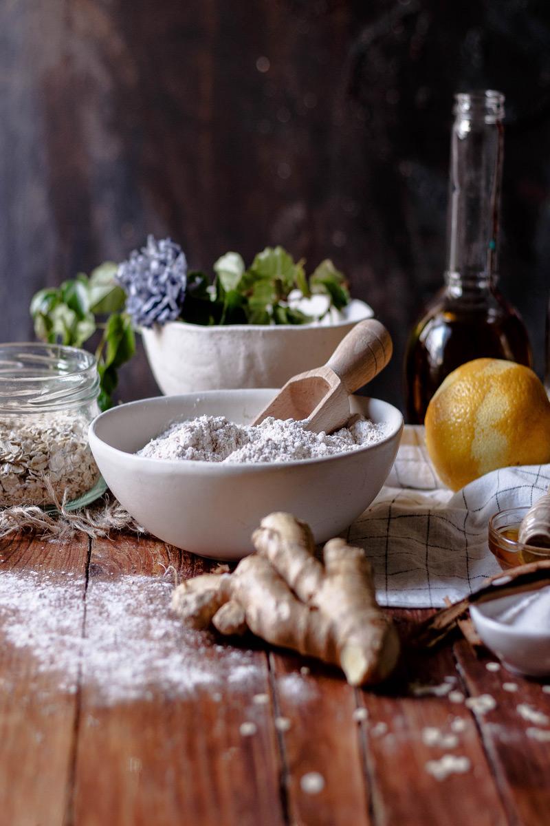 Ingredientes galletas avena; limón y jengibre