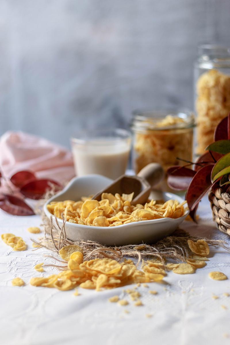 Corn Flakes para hacer leche de cereales. Panna cotta