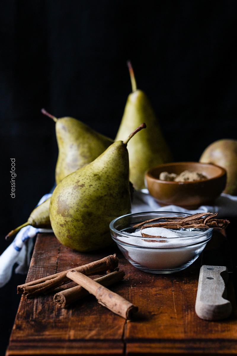Ingrediente pastel peras y caramelo