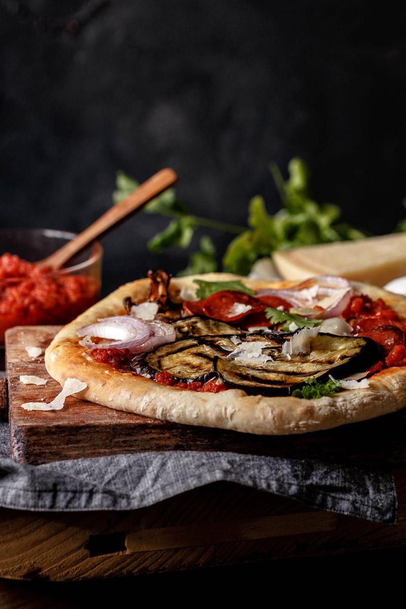 Receta de pizza de berenjena