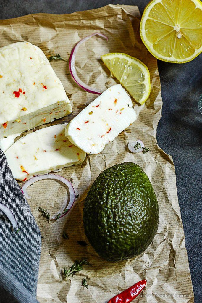 Ingrediente receta tacos de coliflor. Queso halloumi