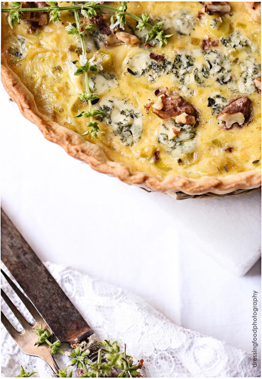 Ingredientes quiche de puerros con queso azul y nueces