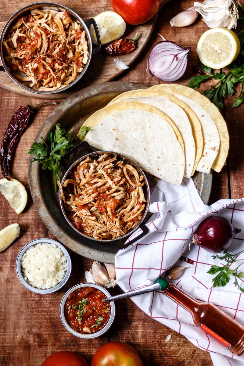 Tacos de pollo caseros, receta mexicana